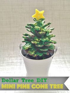 DIY Mini Pine Cone Tree Winter Holiday Craft - Frugal Home Decor