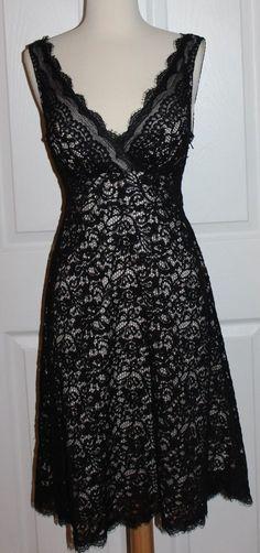 White House Black Market Dress Size 6 Black Lace Cocktail Dress | eBay
