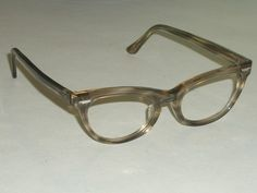 44[]18 VINTAGE SHURON TRANSLUCENT GRAYISH CATS EYE EYEGLASSES/SUNGLASSES FRAMES | eBay