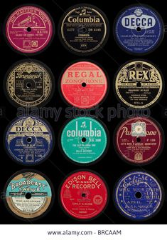 Old 78 rpm Gramophone Record Labels Stock Photo