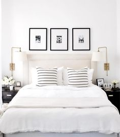 A short break from Christmas themed posts to design crush on this all white bedroom by proving that white is anything but boring! - Architecture and Home Decor - Bedroom - Bathroom - Kitchen And Living Room Interior Design Decorating Ideas - Bedroom Inspo, Home Decor Bedroom, Bedroom Sconces, White Bedroom Decor, Bedroom Frames, Bedroom Inspiration, Bedroom Wall Lamps, Artwork For Bedroom, Spare Bedroom Ideas