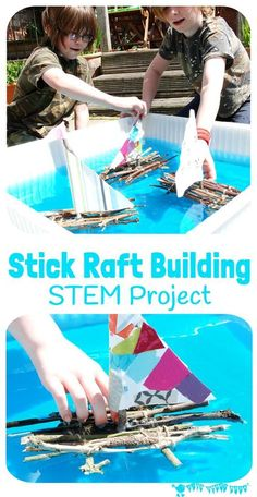 Stick Raft Building STEM Project Can you build a raft that really floats How much weight can your stick raft carry Can your raft cope in a real stream This STEM challenge. Nature Activities, Steam Activities, Summer Activities For Kids, Summer Kids, Stem Projects For Kids, Stem For Kids, Outdoor Fun For Kids, School Projects, Nature For Kids