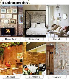 JUNTAS:  Após definir o tipo de estrutura, a cor e o tamanho do tijolo, está na hora de definir como o material será aplicado na sua parede. O assentamento deve ser feito com areia peneirada para que as pedrinhas não interfiram no acabamento. cuide para que o excesso de massa do rejunte seja removido evitando que endureçam sobre as peças. As juntas podem ser de três tipos:    Cheia - a massa é nivelada na superfície do tijolo.