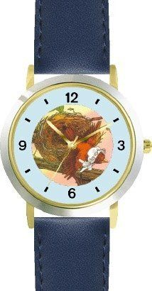 The Little Bird - from Mother Goose by Artist: Sylvia Long - WATCHBUDDY® DELUXE TWO-TONE THEME WATCH - Arabic Numbers - Blue Leather Strap-Size-Children's Size-Small ( Boy's Size & Girl's Size ) WatchBuddy. $49.95. Save 38% Off!