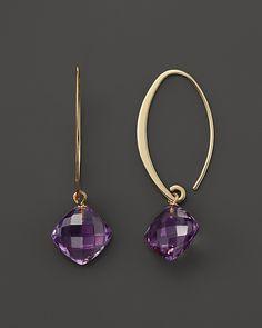 $14K Yellow Gold Simple Sweep Earrings with Amethyst - Bloomingdale's