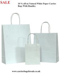 d90f55d615 High quality wholesale plain white carrier bags with twisted handles from  online UK store. Get in multiple sizes with next day delivery.
