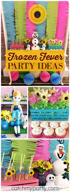 Lots of sunflowers and bright colors at this Frozen Fever birthday party! See more party ideas at CatchMyParty.com!