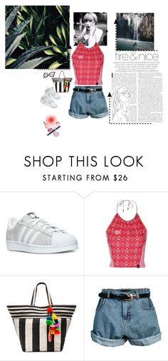 """Crashing your Vacation"" by antonia-christina ❤ liked on Polyvore featuring adidas, Topshop, JADEtribe and Retrò"