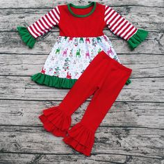 Christmas  Long Sleeves and Pants Outfits boutique girl clothing