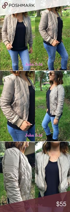 "🌟Quilted Bomber Taupe quilter bomber just in time for cooler weather. This unfortunately is a reposh from a lovely seller (all photos are used with her permission). Just didn't fit me. Marked as a L, but IMO I feel like it would fit a M much better. Bust measures at approximately: 19.5"" laying flat. Excellent quality and thicker material than expected. Perfect for fall! Jackets & Coats"