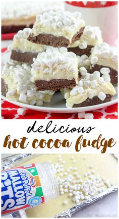 Hot Cocoa Fudge Recipe – Crafty Morning Make some hot cocoa fudge for the winter time or christmas! Fun fudge recipe to bring to parties. Little marshmallows make these adorable to put on a plate. Winter Desserts, Köstliche Desserts, Holiday Desserts, Holiday Baking, Holiday Recipes, Delicious Desserts, Christmas Dessert Recipes, Christmas Fudge, Christmas Cooking