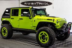 If you're looking for a fully built and all out rig, then this is the one for you! Offering flawless performance on and off the road, this big green monster is sure to deliver, and never disappoint. And the HEMI conversion sitting under the hood i Jeep Wrangler Rubicon, Jeep Wrangler Unlimited, Jeep Jk, Jeep Truck, Cheap Jeeps, Big Green Monster, Green Jeep, Automotive Group, Dual Sport