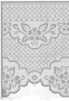 tenda-fiori-e-foglie. Crochet Curtain Pattern, Crochet Patterns Filet, Crochet Curtains, Crochet Borders, Crochet Tablecloth, Crochet Diagram, Crochet Doilies, Crochet Stitches, Crochet Motif
