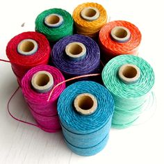 Colourful spools of Irish waxed linen cord  Tips for  knotting