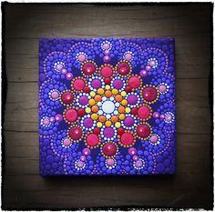 Mini Original Painting Jewel Drop Mandala purple by ElspethMcLean