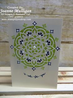 Featuring the stamp set Eastern Beauty and the Eastern Medallions Thinlets from Stampin' Up! Created by Joanne mulligan, independent Stampin' up! Demonstrator