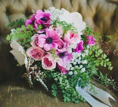 Lush Pink + Green Bridal Bouquet