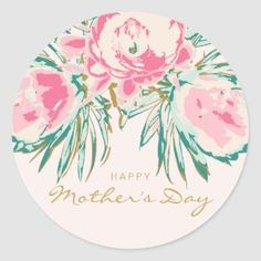 Pretty Floral Wreath Happy Mother's Day Classic Round Sticker   Zazzle.com Mothers Day Classic, First Mothers Day, Mothers Day Cards, Happy Mothers Day, Floral Illustrations, Illustration Art, Mather Day, I Love Mom, Christmas Card Holders