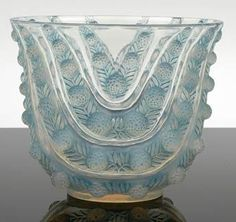 Rene Lalique 'Vichy Juillet' opalescent glass vase, model introduced 1937, moulded with berries and leaves,