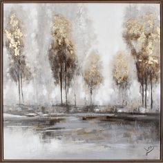 Golden trees against a sepia ground make this hobbitholeco Golden Tree II a stunning example of impressionist art. This artwork from Luna M. Abstract Painting Techniques, Oil Painting Abstract, Abstract Canvas, Painting Frames, Painting Prints, Landscape Artwork, Abstract Landscape, Gold Leaf Art, Modern Art Paintings