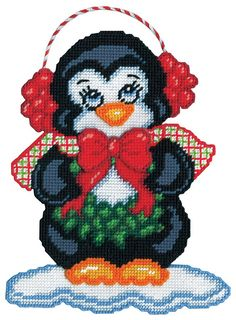Mary Maxim - Ear Muff Penguin Plastic Canvas Kit - Christmas Blowout - Promotions x 7 mesh Plastic Canvas Coasters, Plastic Canvas Ornaments, Plastic Canvas Christmas, Plastic Art, Plastic Canvas Crafts, Plastic Canvas Patterns, Xmas Cross Stitch, Cross Stitching, Cross Stitch Embroidery