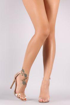 Transparent Ankle Strap Open Toe Patent Stiletto Heel #anklestrapsheels2017 #stilettoheels2017