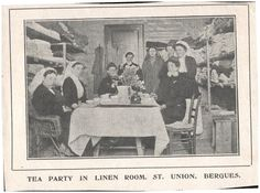 """""""Tea party in linen room, St Union, Bergues"""" - press cutting from British Journal of Nursing, 29 May 1915"""