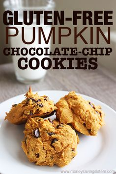 Only 4 ingredients in these gluten-free pumpkin chocolate chip cookies!