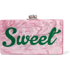 Edie Parker Jean acrylic box clutch ($1,420) ❤ liked on Polyvore featuring bags, handbags, clutches, pink, lucite box clutch, hardcase clutch, vintage style handbags, vintage style purses and lucite handbags