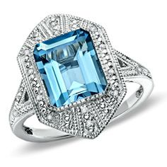 Octagon-Shaped London Blue Topaz Vintage Ring in Sterling Silver with Diamond Accents - View All Rings - Zales