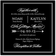 Signature White Wedding Invitations Ever Arrow - Front : Black  http://www.weddingpaperdivas.com/product/9567/signature_white_wedding_invitations_ever_arrow.html#