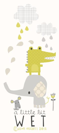 #cute #rain #animals #illustration