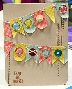 Banners card.Neenah kraft, My Mind's Eye patterned paper and stamp set, Silhouette cut banners, Epiphany Crafts epoxy shapes...yay!