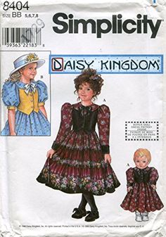 "Simplicity Daisy Kingdom Pattern 8404 Girls' Dress and Matching 18"" Doll Clothes"