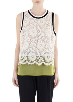 MSGM :: Shop Online - T-Shirts & Top - Rebrode' lace top with contrasting silk insert