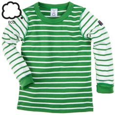 Polarn O. Pyret Green Breton Stripe Kids Top. Colourful striped kids clothes.