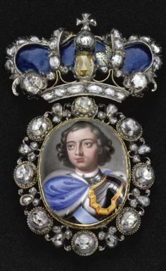 Miniature portrait of Peter the Great in the frame with diamonds. beginning. XVIII century