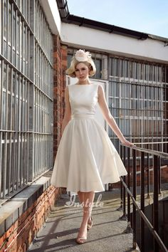 Elegant Boat Neck Sleeveless A-line Knee Length Satin Bridal Dress.