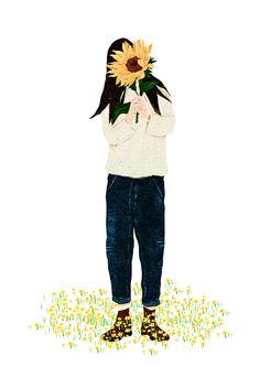 Sunflower reflects me well Sunflower Drawing, Sunflower Art, Sunflower Illustration, Illustration Girl, Paz Hippie, Art Sketches, Art Drawings, Sunflower Wallpaper, Illustrations