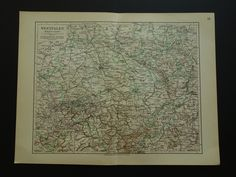 "Old map of province of Westphalia Germany 1913 original vintage poster - alte karte von kaart van Westfalen Münster Muenster 25x32c 10x13"" by VintageOldMaps on Etsy"