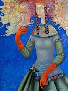 Red gloves 2015 61x81cm oil canvas by Zayasaikhan Sambuu - Mongolian Painter
