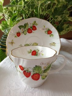 Rosina Fine Bone China Teacup and Saucer. with strawberry pattern
