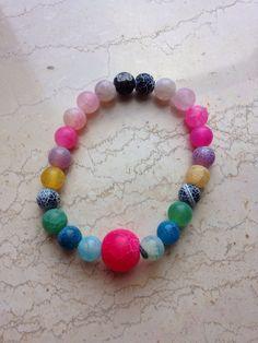 Bracelet: multicolor dyed agate. balmes.roxana@gmail.com
