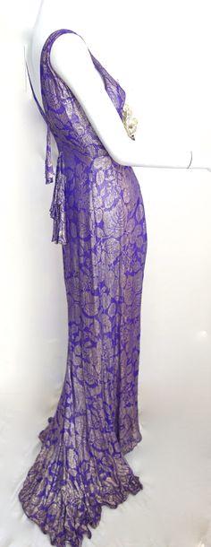 decadent 1930s purple gold lame dress