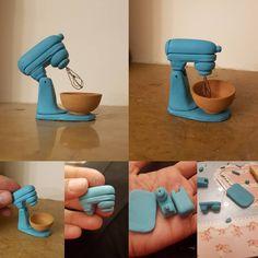 پولیش و براق کنندش مونده #mixer #kitchen #bakery #mini #minyatur #art #polymerclay #خمیرپلیمری #هنر#کار_دست #آشپزخانه #شیرینی_پزی #میکسر