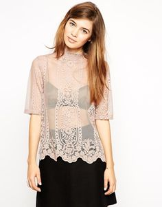 Enlarge ASOS Top With High Neck In Victorian Lace