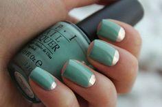 Awesome seafoam and silver mani -short nails -real nails - nail polish - sexy nails - pretty nails - painted nails - nail ideas - mani pedi - French manicure - sparkle nails -diy nails Teal Nails, Silver Nails, Diy Nails, Cute Nails, Pretty Nails, Green Nails, Blue Nail, Metallic Nails, Nails Turquoise