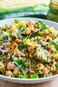 Pesto Zucchini and Corn Quinoa Salad - Love salads like this! I added mushrooms, eggplant, kalamata olives and feta, and I didn't have quinoa so I used Israeli Couscous instead - Delicious!