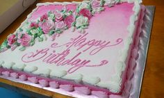Full Sheet half chocolate/half vanilla cake with pink and white buttercream icing and roses $85 (serves approx. 60 to 70 ppl)