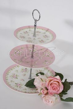 Cake Stand Ceramic 3 Tier Floral Pink Tiered Cakes, Aesthetic Wallpapers, Centerpieces, Ceramics, Floral, Pink, Stuff To Buy, Wedding, Ceramica